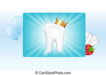 Tooth In Crown And Chewing Gum, Vector Illustration
