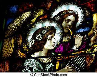Lead-glass with angels - Nagels are playing on instruments...