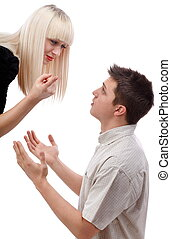Asking for mercy - Young woman arguing with her boyfriend...