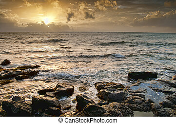 Ocean with Golden Sun