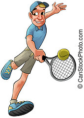 tennis player running to hit the ball in backhand