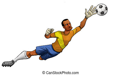 the goalkeeper - goalkeeper jumping to catch the ball wit...