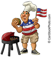 American barbecue - fat guy eating a hamburguer with usa...