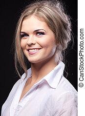Beauty fashion portrait young woman in shirt