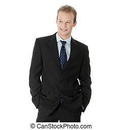 Happy young businessman standing, isoalted on white...