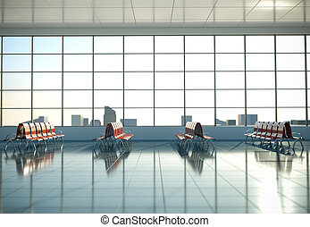 Airport waiting area 3D render