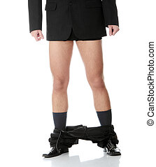 Young businessman caught with pants down Isolated on white...