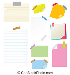 note, papies, sticker, postit set