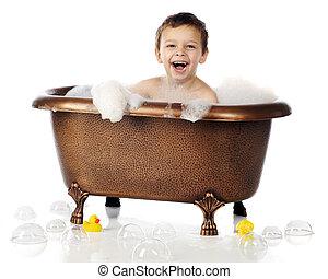 Bubbles, Bubbles, Everywhere - An adorable preschool boy...