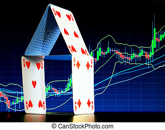 Mortgage - House of cards with a stock graph in the...