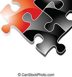 Background with Puzzle Pieces - Vector background...