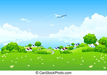 Green Landscape with aircraft
