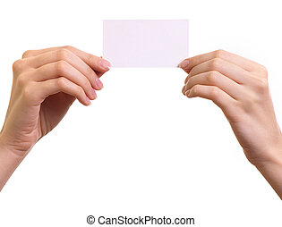 Paper card in woman hands isolated on white background