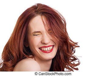ojos, mujer, atractivo, Plano de fondo, blanco, sonriente,...