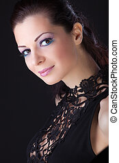 Beauty woman in dress with lace look at you