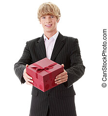 Gift - Business man offering a gift