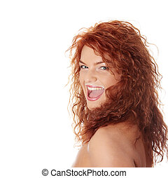 Milk mustache - Young beautiful redhead woman drinking milk...