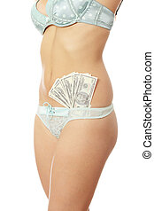 Prostitution concept - woman with cash in lingerie