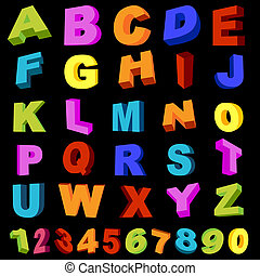 letters and digits - full alphabet with numerals