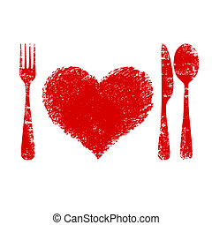 A heart health concept - red heart plate, knife, spoon and...