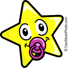 Baby star - Vector drawing of a star with a pacifier.