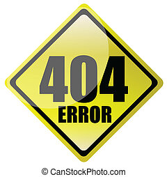 404 error sign  isolated over a white background