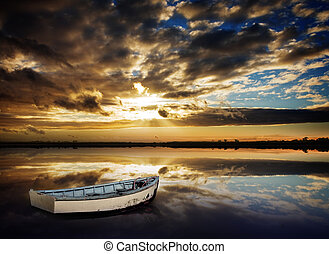 Row Boat Sunset - Gorgeous Peaceful Sunset over lake