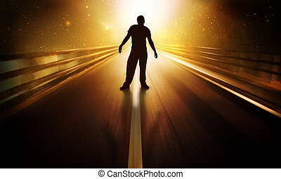 Arrived - Man standing in futuristic scene