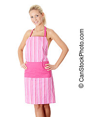 Happy blond nude woman in pink apron