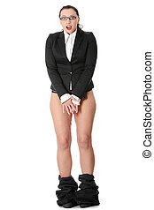 Young businesswoman caught with pants down Isolated on white...