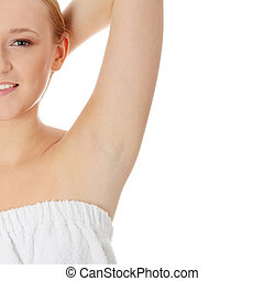 Womans armpit, isolated on white