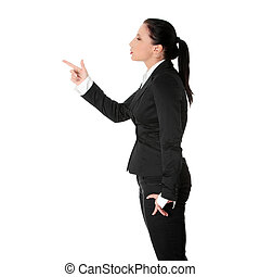 Mad business woman portrait isolated over a white background...
