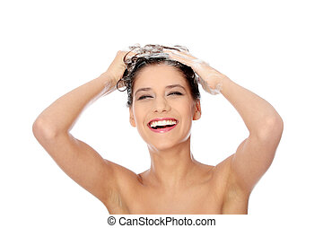 Haircare - Beautiful young brunette woman with attractive...