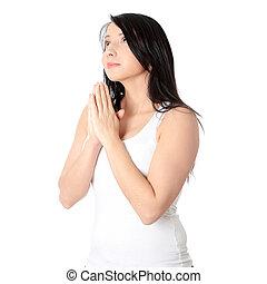 jovem, Caucasiano, mulher, orando