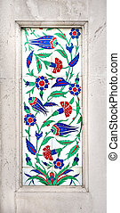 Ottoman Iznik Motif - A vertical detail of with Ottoman...