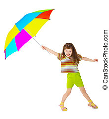 Little happy girl is playing with color umbrella