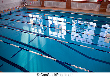 Empty new school swimming pool top view