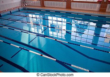 Empty new school swimming pool top view