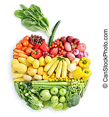 apple: healthy food - various vegetables and fruits in apple...