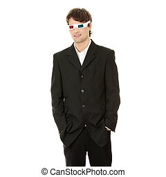 Young handsome man in 3d glasses, isolated on white