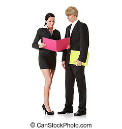 Young business colleges wearing business suit isolated on...