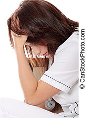 Overburdened doctor in the stress - Overburdened female...