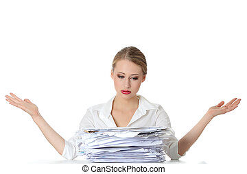 Paper work - Overworked businesswoman isolated on white