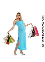 happy pregnant woman with shopping