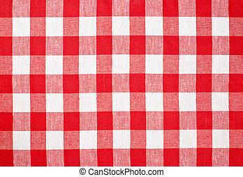 vermelho, verificado, tecido, toalha de mesa