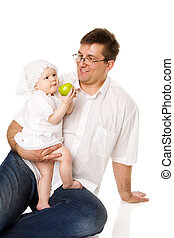 Father with baby girl - Happy Father with baby girl posing...