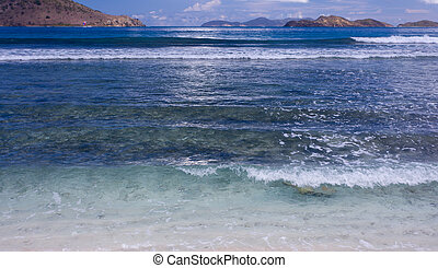 Seascape from St Thomas - Bay on the Caribbean island of St...