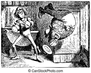 Engraving of Father William doing a summersault - Alice in...
