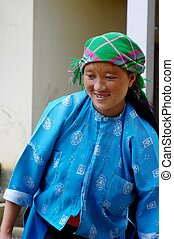 White Hmong woman - Hmong woman white laundry on laundry day...
