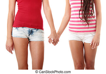 dos, lesbiana, mujeres